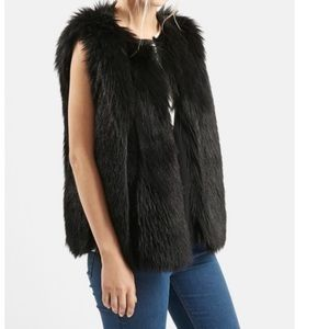 Top Shop Black Faux Fur vest